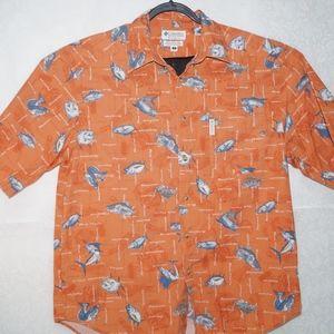 Columbia Mens Orange Fish Print Shirt Size L